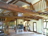 double height ceiling and fire place