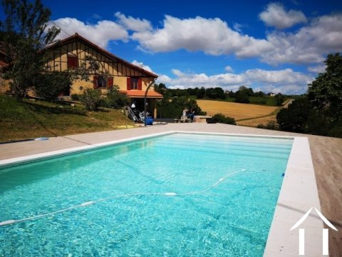 Renovated farmhouse with superb views, pool and gite potent Ref # BE4644