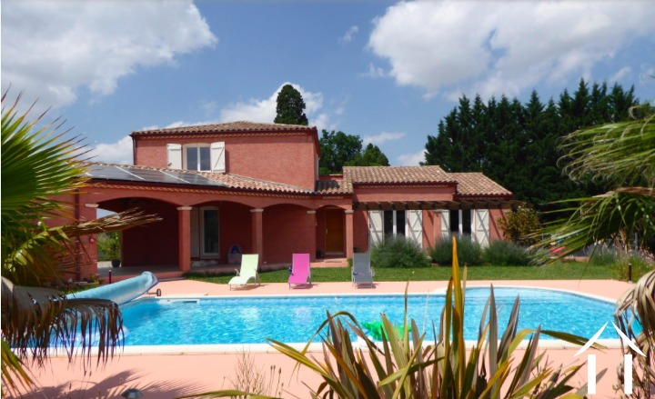 Contemporary 5 bedroom French villa style house (160m2) with large pool, several large terraces, garage and large landscaped gardens (6,990m2) with wonderful panoramic views Ref # MPOP0062