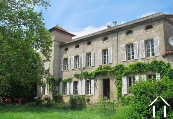 19th Century Manor house with swimming pool, 4 bedroom gîte, 3 bedroom wooden chalet and 1,000m2 of barns, set in over 3 hectares of private wooded park. Ref # MPOP0064